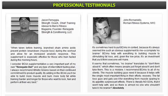 BCAA Customer Testimonials
